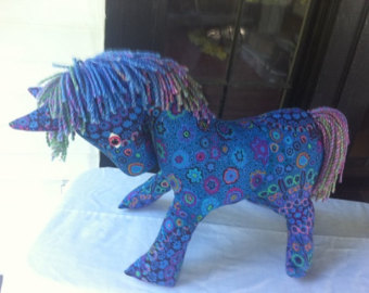 blue and purple horse